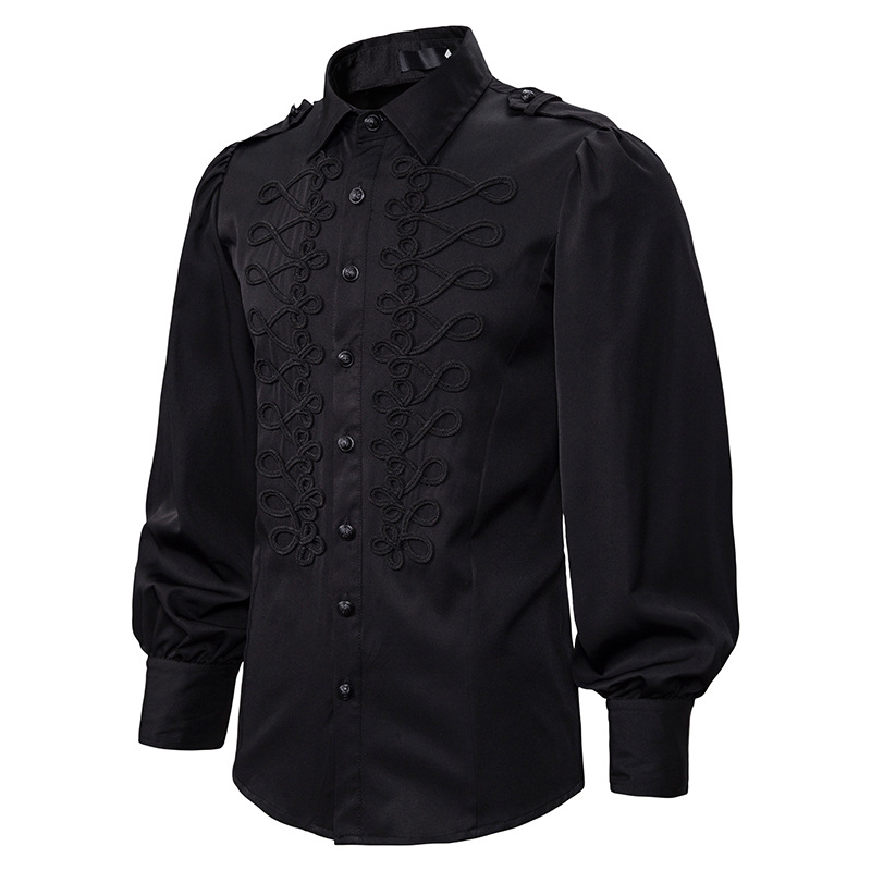 Vintage Retro Gothic Steampunk Shirt Men Black Military Dress Shirt Mens Victorian Renaissance Shirts Party Evening Prom Chemise