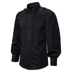 Vintage Retro Gothic Steampunk Shirt Men Black Military Dress Shirt Mens Victorian Renaissance Shirts Party Evening Prom Chemise