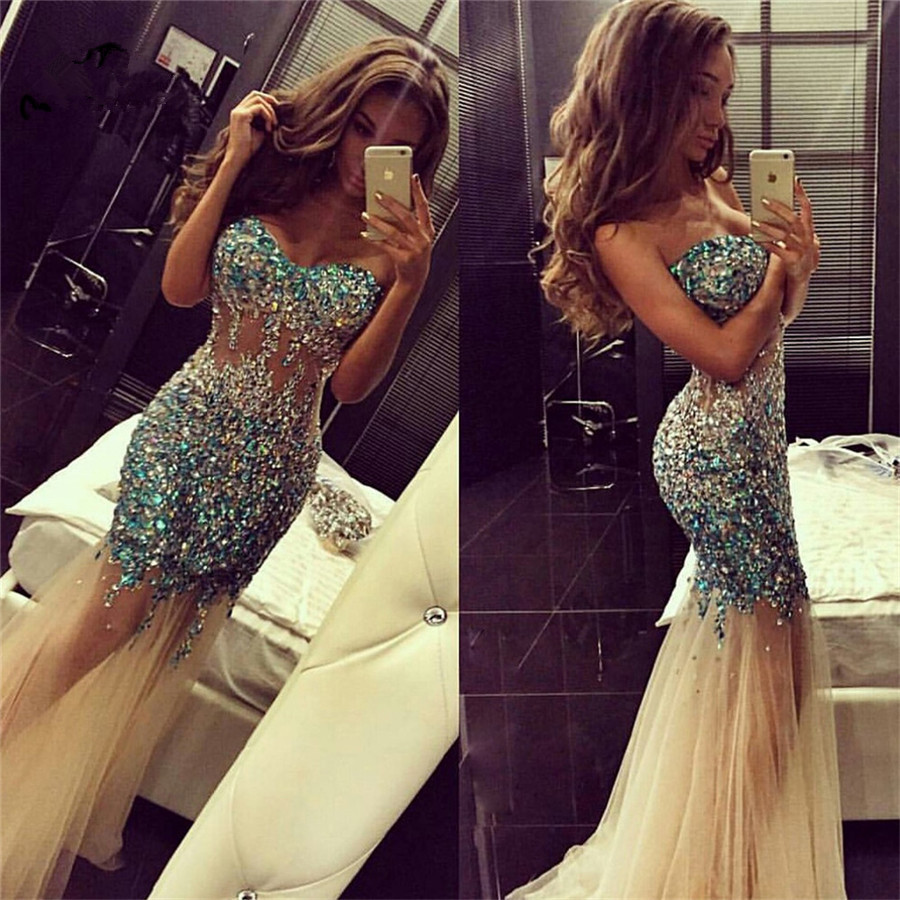 Luxuries Promotion 2019 Mermaid Prom Dress Elegant See Though Sweetheart Rhinestone Crystals Wedding Guest Dress Prom Dresses