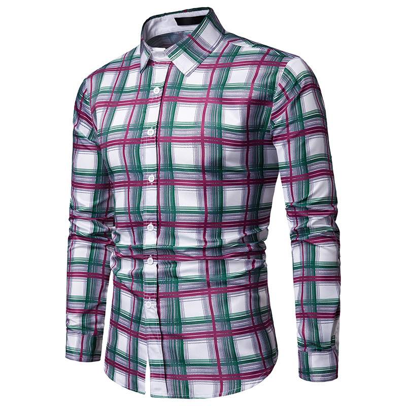 2020 new arrival colorful plaid shirts men dress good quality long sleeve camisa social masculina 2