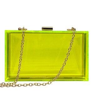 Image 3 - 새로운 투명 아크릴 가방 지우기 클러치 저녁 가방 웨딩 파티 핸드백 체인 여성 숄더 가방 지갑 9 색