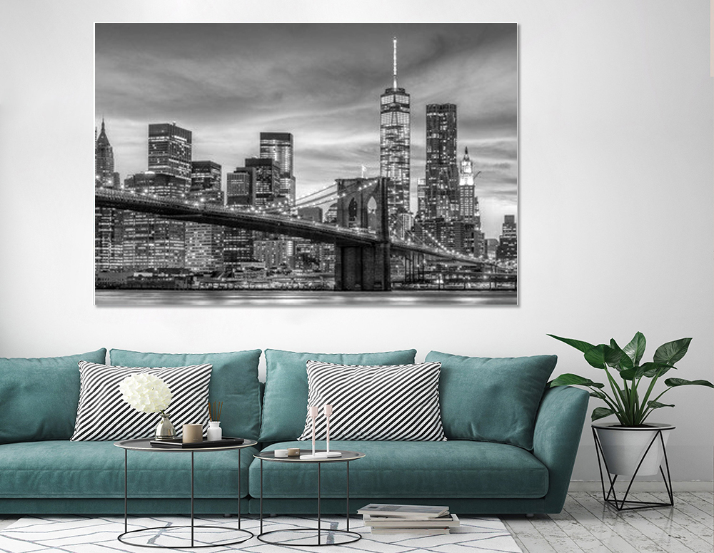 New York Skyline Room Decor Landscape Painting Art Black White Canvas Print Large Mural Home Decoration Posters Wall Pictures in Painting Calligraphy from Home Garden