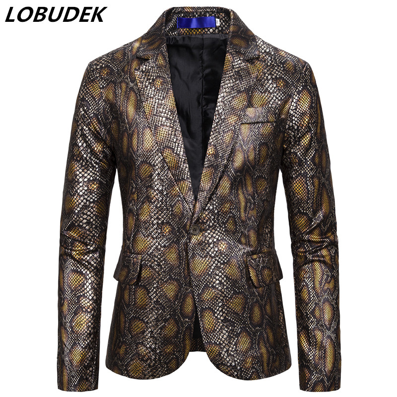 Men Snake Print Blazer One Button Hot Stamping Tuxedos Business Office Casual Coat Blazer Bar Club Male Singer Stage Costume New