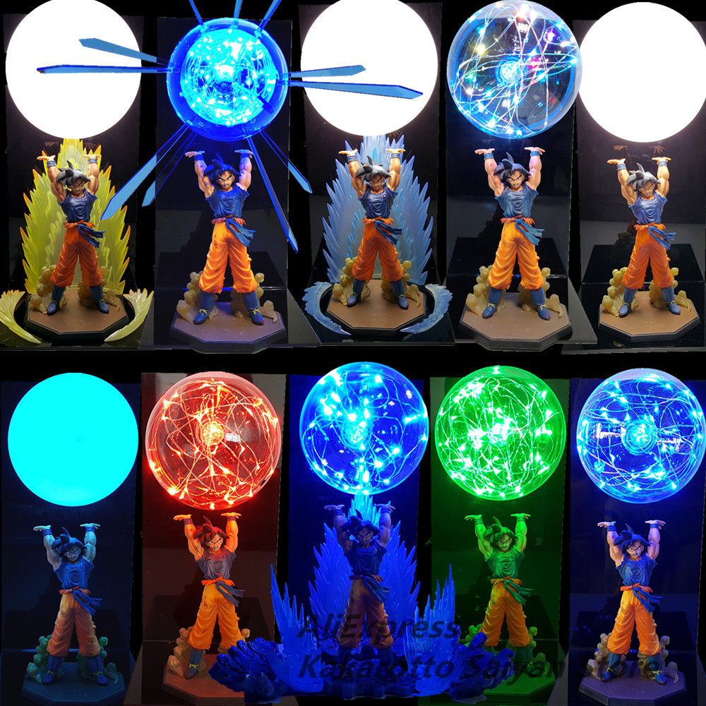 Dragon Ball Z Son Goku Spirit Bomb Led Action Figures Toy Dragon Ball Super Anime Son Goku Figurine Led Collectible Toys DBZ