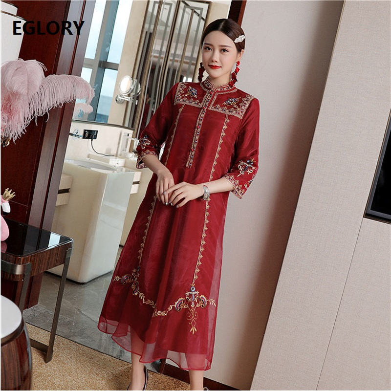 Top Quality Brand Chinese Dress 2019 Autumn Party Vintage Dresses Women Luxurious Embroidery Mid Calf Wine Red Dress Vestidos