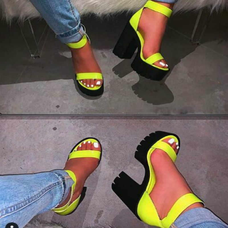 2020 Women Shoes Fashion Pvc Clear Sandals Ankle Strap High Heel Female Sandals Night Club Platform Heels Back