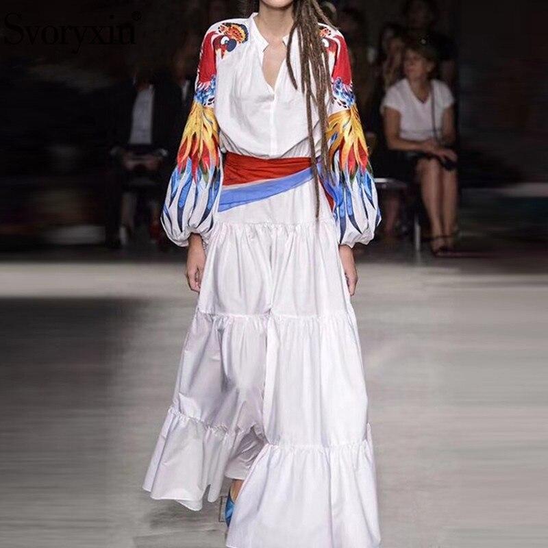 Svoryxiu 2019 nouvelle broderie colorée Patchwork blanc Maxi robe O cou lanterne manches automne hiver robes de créateurs Vestdios