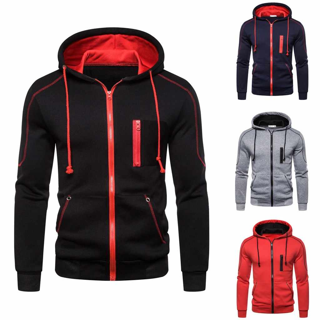 Männer Autum Winter Neue Mode Lange Hülse Mit Kapuze Sweatshirt Zipper Outwear Tops Bluse Herren Hoodies 3XL
