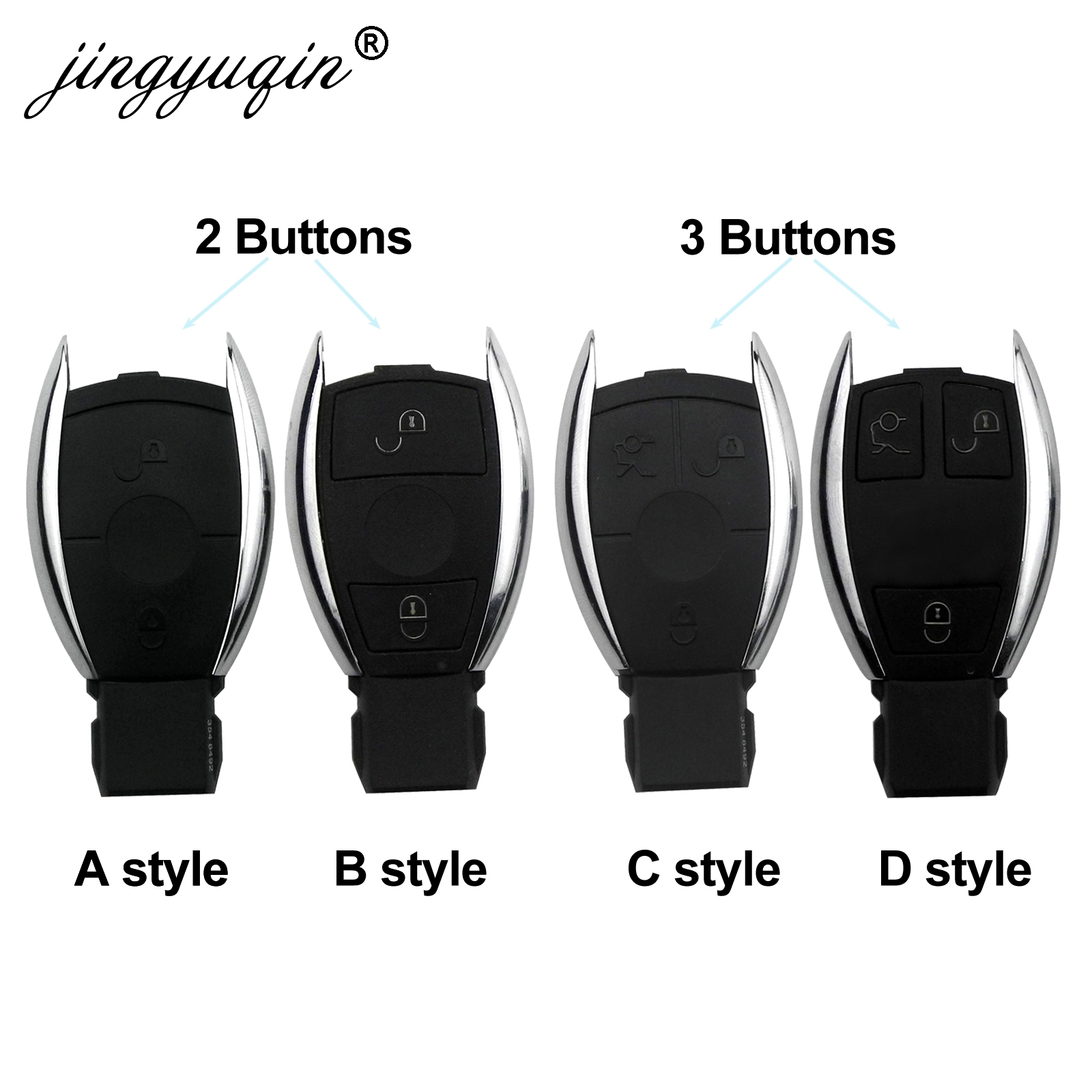 Jingyuqin 2/3/4 boutons coquille de clé de voiture à distance intelligente pour Mercedes Benz BGA NEC C E R S CL GL SL CLK SLK porte-clés à distance