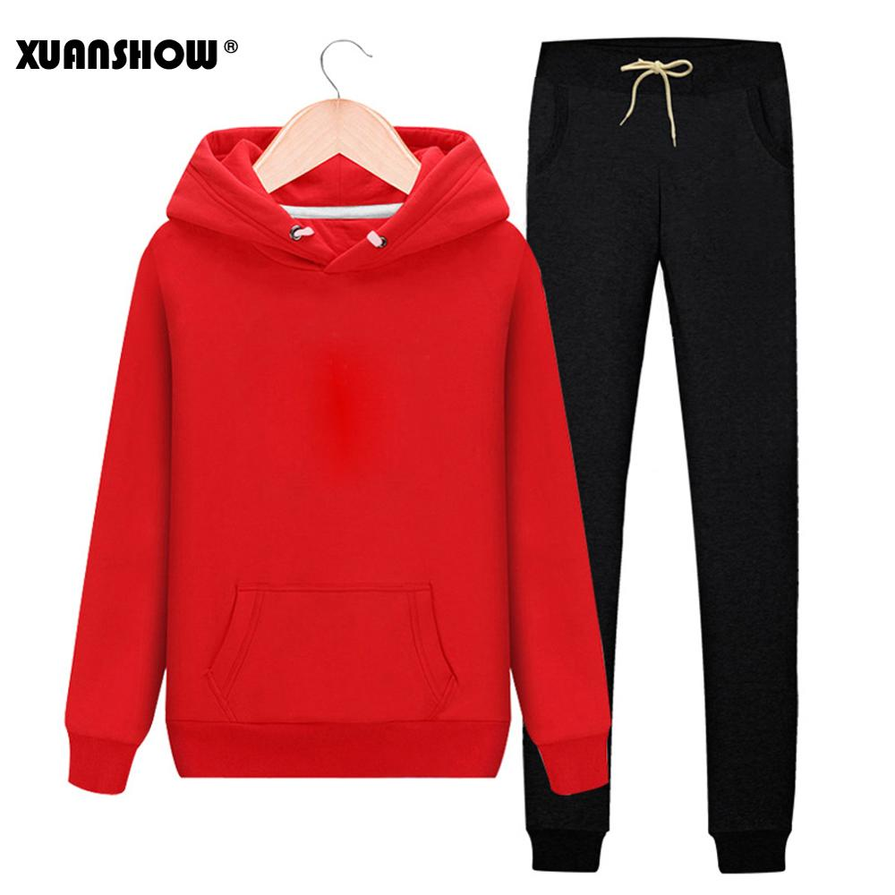 XUANSHOW Women's Tracksuits 2019 Autumn Winter Solid Color Sportswear Hoodies+Long Pants Two Piece Set  Female Cotton Outfits