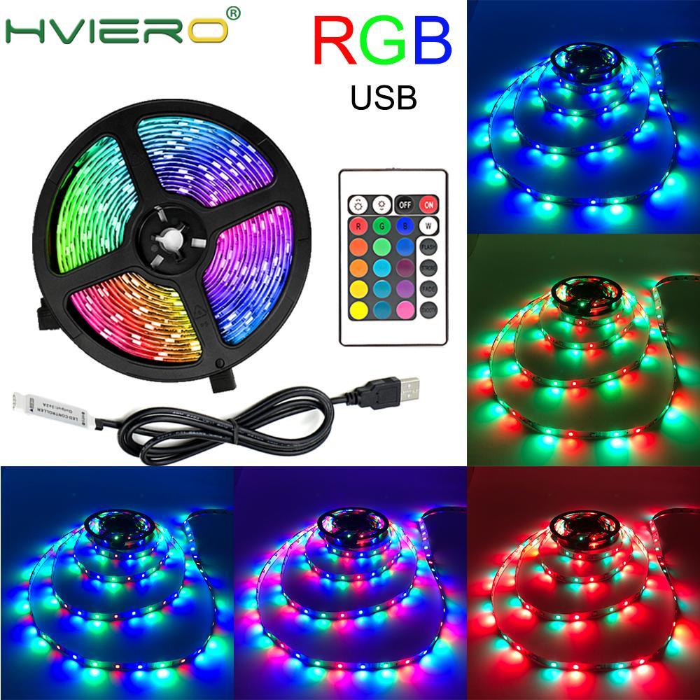 USB LED Strip Lamp 2835SMD DC5V Flexible LED Light Tape Ribbon1M 2M 3M 4M 5M HDTV TV Desktop Screen Backlight RGB Decorative LED