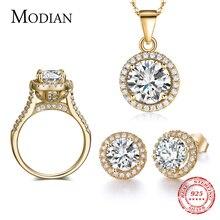 Скидка 90%, свадебный аксессуар, циркониевый набор AAAAA, серьги гвоздики золотого цвета, кольцо, ожерелье, свадебные украшения