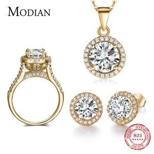 Image 1 - Скидка 90%, свадебный аксессуар, циркониевый набор AAAAA, серьги гвоздики золотого цвета, кольцо, ожерелье, свадебные украшения