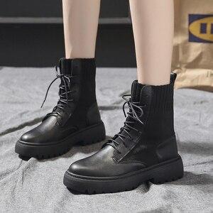 Image 2 - Frauen Marder Stiefel Frau Motorrad Stiefel Ankle Dr Booties Damen Casual Schuhe Weibliche Mode Freizeit Botas Mujer Dropshipping
