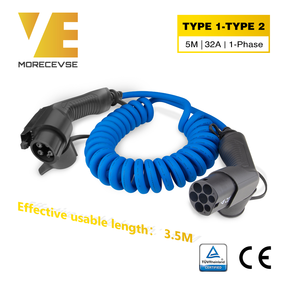 Morec SAE J1772 EV Charging Coiled Cable For Stations Electric Car Spiral Charger Type1 To Type 2 32A 7KW 5m Blue