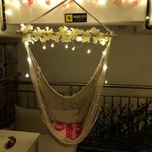 Image 5 - ALLOET grande corde de coton Net hamac chaise Portable en plein air Camping suspendu lit de couchage intérieur adulte enfants enfants balançoire chaise