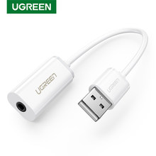 UGREEN karta dźwiękowa zewnętrzny Adapter USB 3.5mm USB do zestaw słuchawkowy z głośnikiem interfejs Audio do laptopa komputer stancjonarny PS4 karta dźwiękowa USB