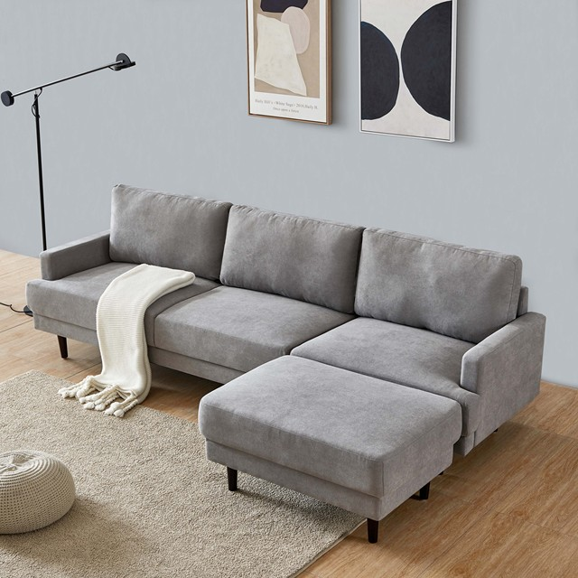 L Shape 3 Seater Couch w/ Ottoman 5