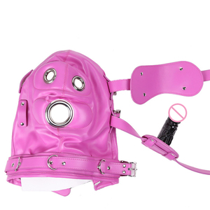 Image 3 - New Fetish SM Hood Headgear With Mouth Gag PU Leather BDSM Bondage Sex Mask Hood Toys Adult Games Sex Product For Couples