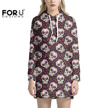 FORUDESIGNS vestido gótico con capucha azúcar mexicano estampado de calavera Floral bolsillo Pullover vestido estilo Harajuku manga larga niñas con capucha