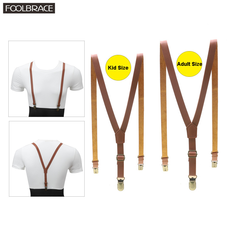 Adult/Kid Fashion Father/Son Leather Suspenders Men Boy Belt Pu Leather Clip-on Slim Braces Suspenders 1.5cm Width