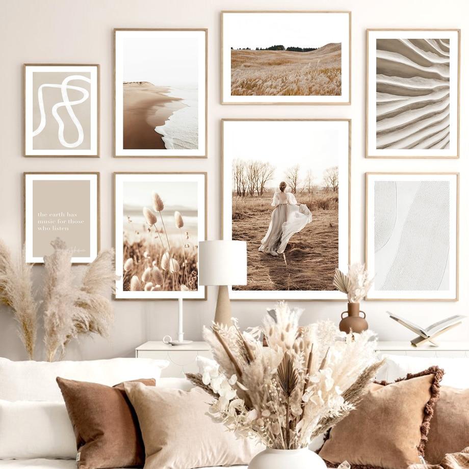 Pôr-do-sol menina grama areia praia macia ondas curvas nórdico cartaz da parede arte da impressão pintura em tela decoração imagens para sala de estar