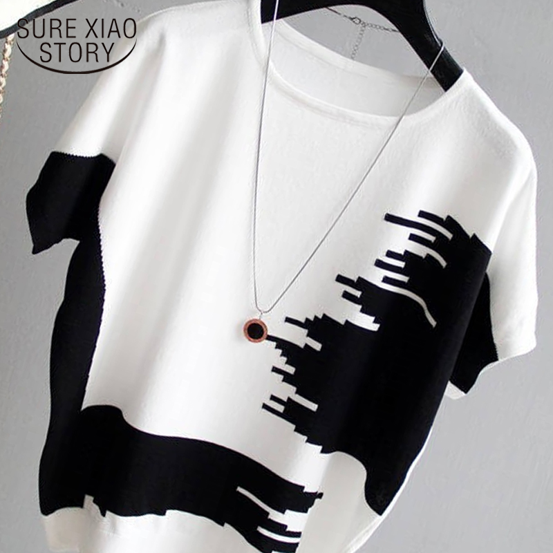 Blusas mujer de moda 2019 mulheres blusa blusa partes superiores das mulheres e blusas O-pescoço Patchwork de manga Curta chiffon blusa 4583 50