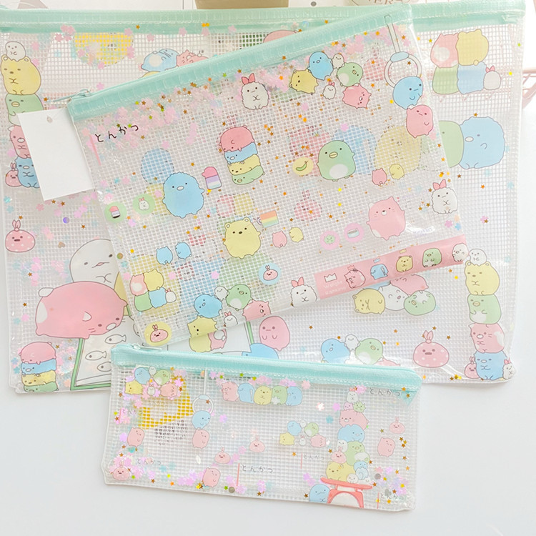 3pcs/Set Sumikko Gurashi Plastic Zipper Bag A4 A5 B6 Paper File Folder Book Case Bag File Document Bag School Office Supply