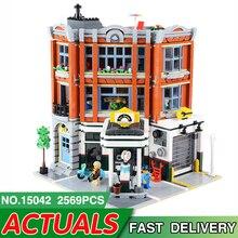 15042 LegoEDS City Street Series Compatible Legoed 10264 Corner Garage Model Building Block Bricks Kids Assembly House Toys Gift