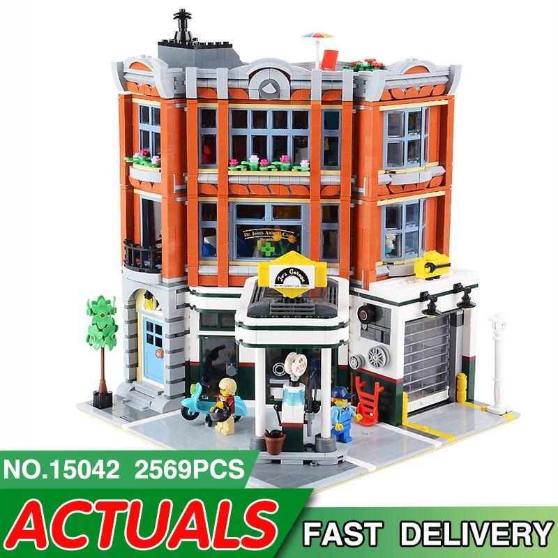 15042 LegoEDS miasto ulica seria kompatybilny Legoed 10264 rogu garażu modelu budynku klocki dla dzieci zgromadzenie dom zabawki prezent w Klocki od Zabawki i hobby na  Grupa 1