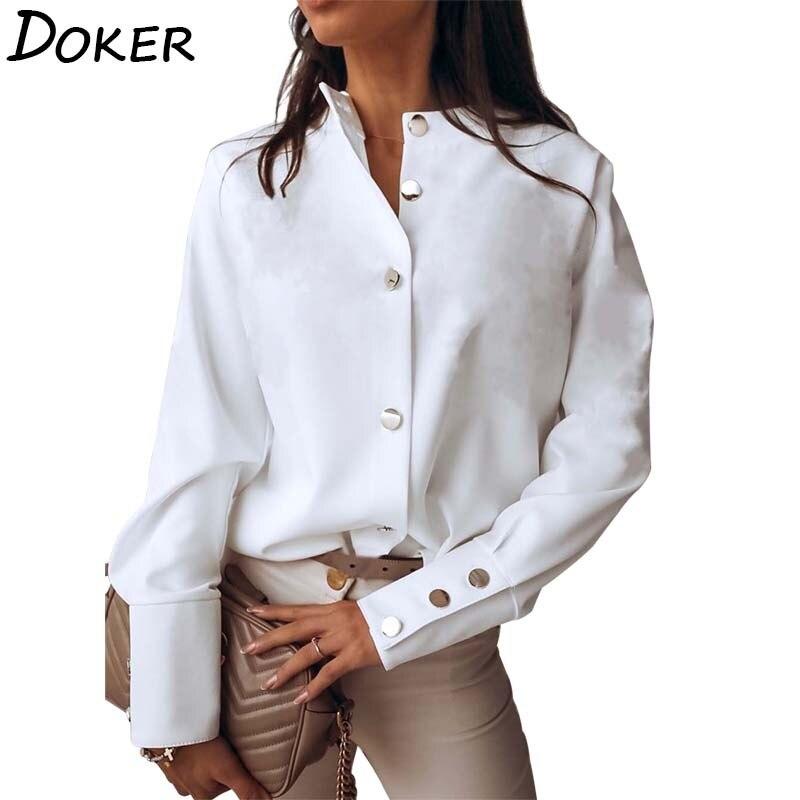 Herbst Weiße Bluse Frauen Casual Mode Stehen Kragen Langarm Plus Größe Büro Damen Hemd Elegante Weibliche Tops Und Blusen