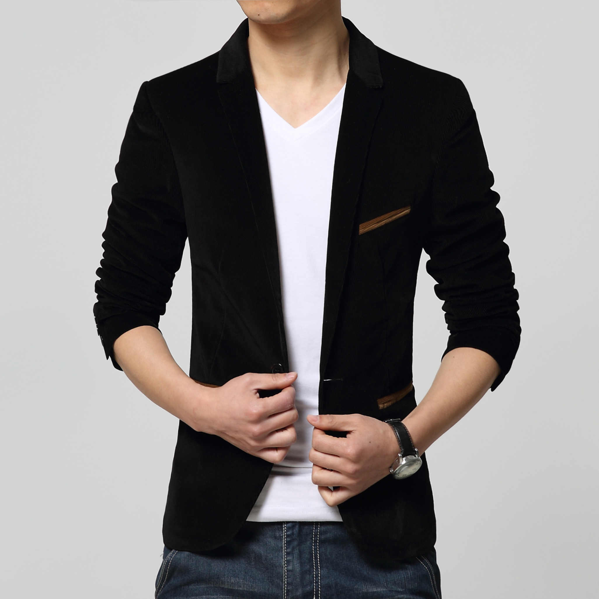 Men Casual Suit Slim Velvet Fit One Stylish Button Blazer Fashion Coat Jacket US