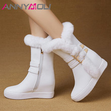 ANNYMOLI Winter Fur Snow Boots Women Zipper Height Increasing High Heel Mid Calf Warm Plush Buckle Shoes Female Size 34-39