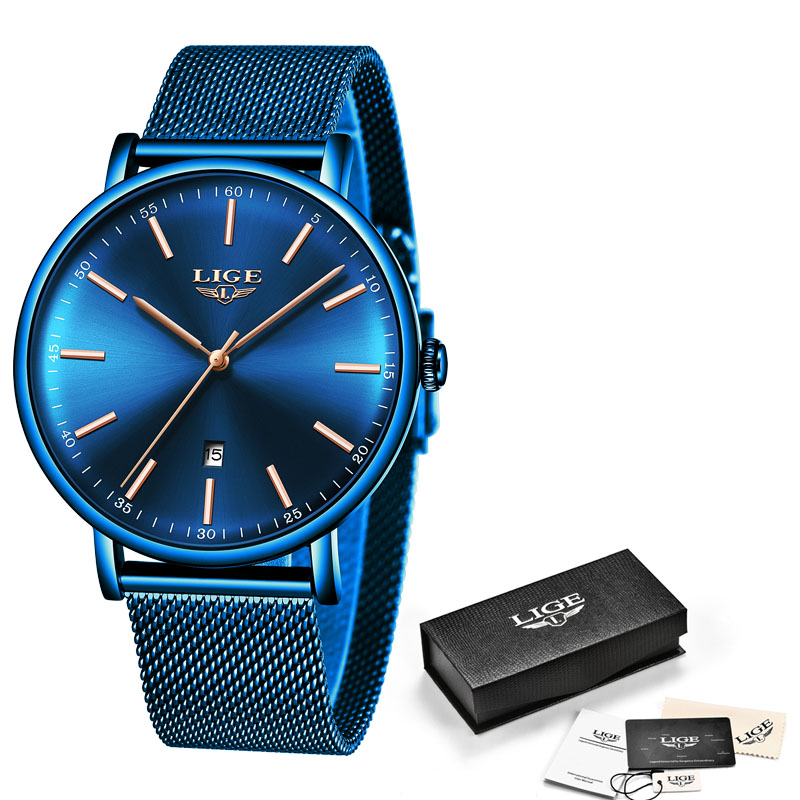 Relogio Feminino 2020LIGE Womens Watch Blue Fashion Watch Women Mesh Waterproof Clock Slim Quartz Ladies Watch Zegarek Damski