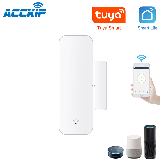 ACCKIP inteligentny czujnik do okien drzwi kieszonkowy rozmiar inteligentne zestawy do domu System alarmowy praca z aplikacją Tuya