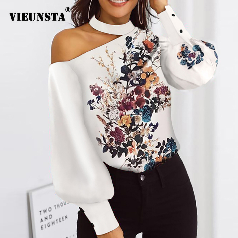 Sexy Off Shoulder Floral Leopard Print Blouse Women Shirts Autumn Lantern Long Sleeve Tops Spring Halter Backless Ladies Blouses