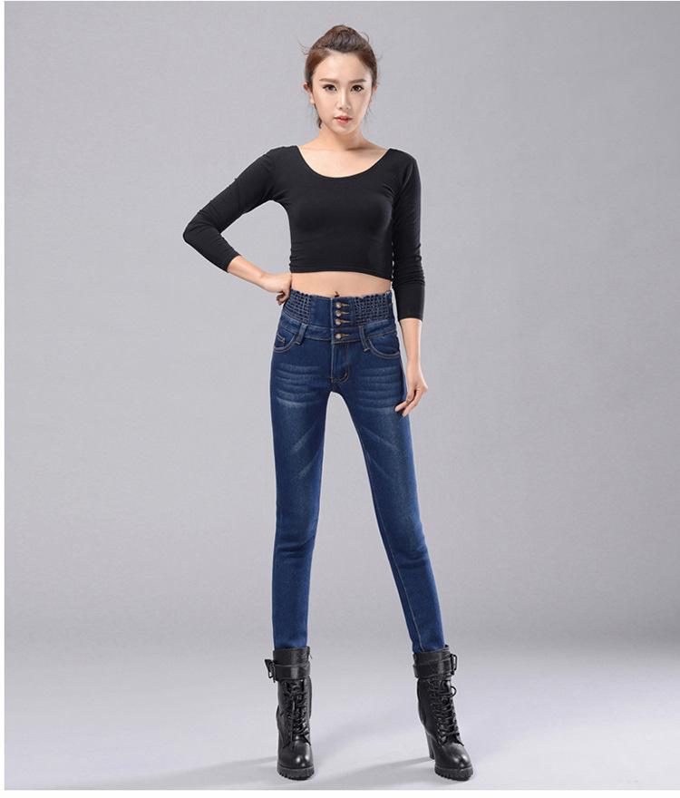 Womens Winter Jeans High Waist Skinny Pants Fleece Lined Elastic Waist Jeggings Casual Plus Size Jeans For Women Warm Jeans 16