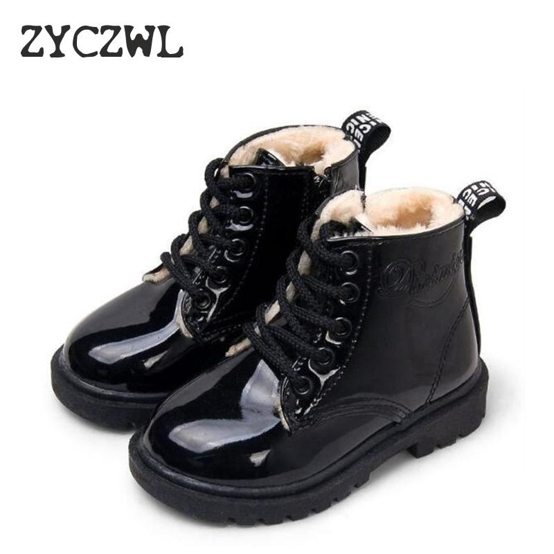 KIDS SHOES Rubber Boots Children Patent Leather Botas Boys Girls Waterproof Plush Snow Boots Toddler Sneakers Boots