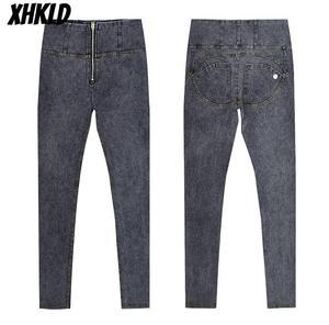 Image 3 - סקסי גבוהה מותן ג ינס אישה אפרסק לדחוף את ירך סקיני ג ינס גמישות מכנסיים בתוספת גודל נשים ג ינס שחור אפור חיל הים כחול