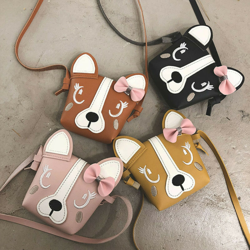 Mini Shoulder Bag PU Leather Cute Dog Bowknot Kids Girls Casual Messenger Bags