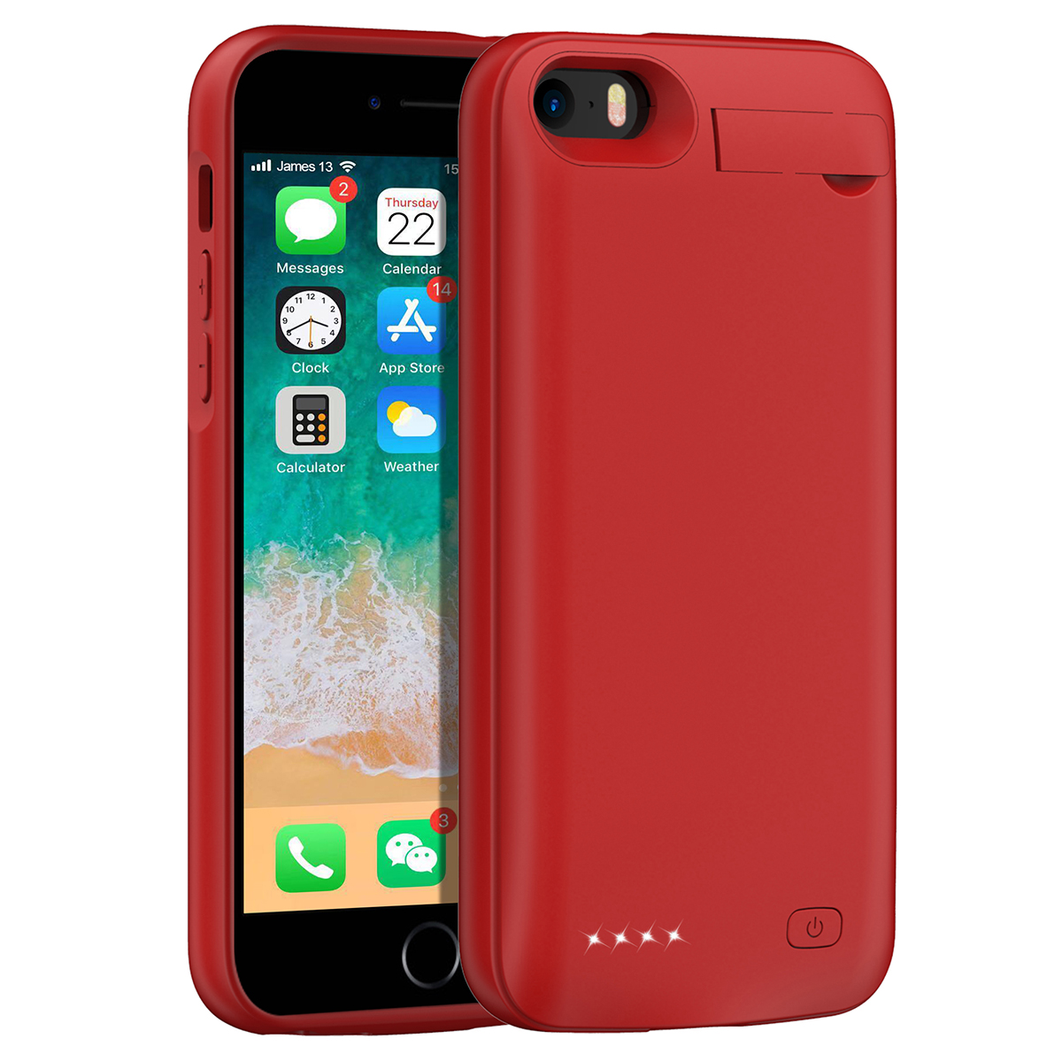 Для iPhone SE 5SE 5 5S 4500mAh аккумуляторная Внешняя батарея резервного копирования защитный чехол зарядное устройство крышка с Скрытая скобка - Цвет: Красный