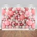 Fotografie Hintergrund Mädchen 1st Geburtstag Hintergrund Ganze Wand von Ballons Rosa Silber Kuchen Zerschlagen Banner Foto-shooting Porträt Kid