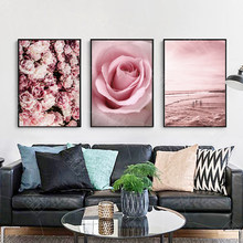 Pink Flower Beach Scandinavian Landscape Canvas Art Posters and Prints Wall Art Picture for Living Room Nordic Decoration Home(China)