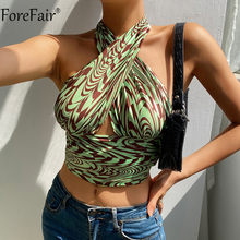 Forefair Green Sexy Halter Neck Tank Top Women Summer Backless Off Shoulder Hollow Out Print Y2k Crop Top Vintage Fashion 2021