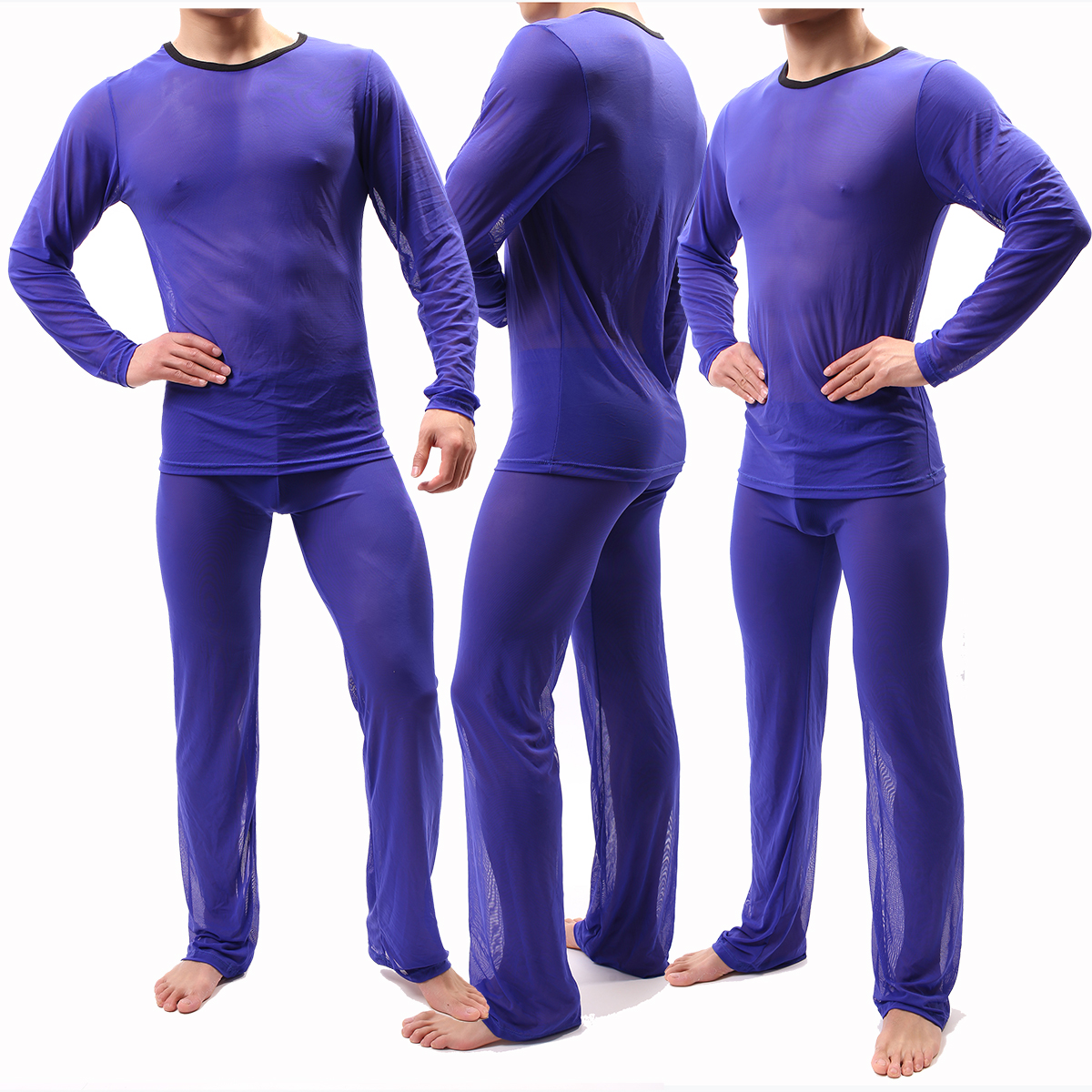 Sexy Men Pajamas Sets See Through Ice Silk T-shirts No Seaming Tee Thin Man T-shirt & Pants Pajama Sexy Male Pajamas Sleepwear
