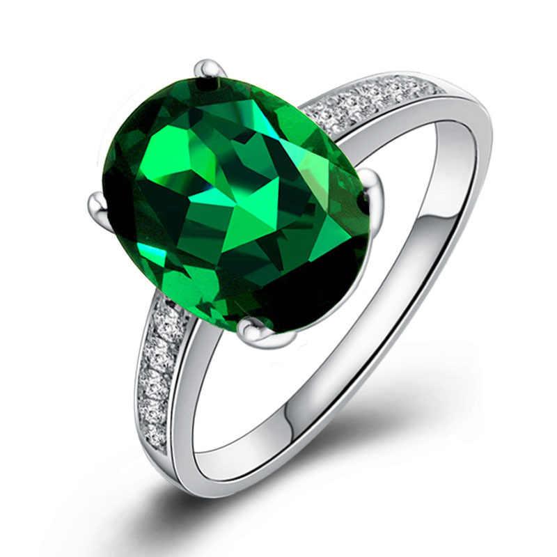 PANSYSEN Natürliche Smaragd Ringe 925 Sterling Silber Edelstein Ring für Frauen Hochzeit Engagement Feine Schmuck Zubehör Geschenke