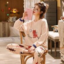 Пижамы для девушек весна/осень хлопковые размера плюс сна Пижамный