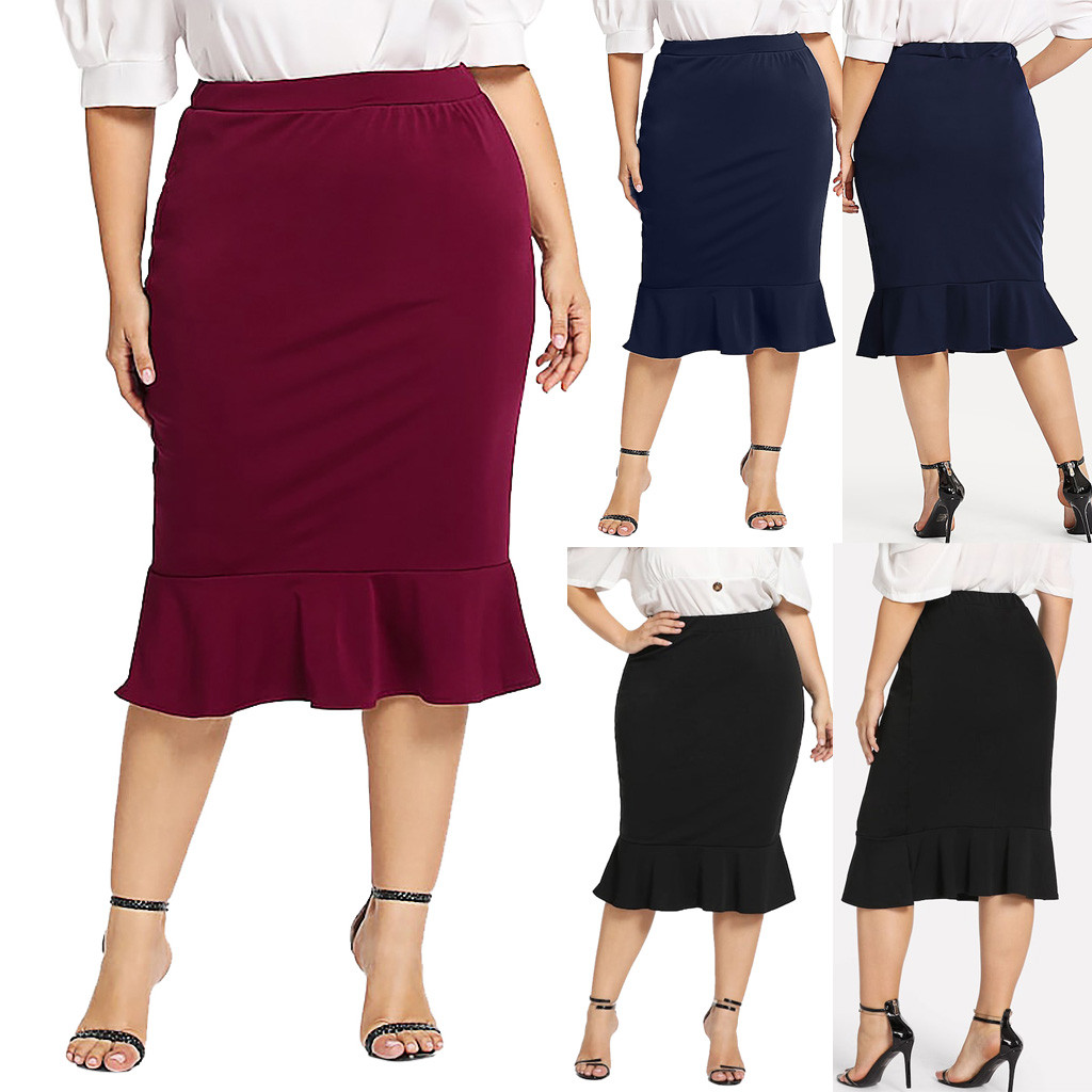 Skirts Women Spring S Casual Elastic Waist Plus Size Solid Mermaid Hem Ruffles Skirt Summer Fashion Lady Club Skirts Mujer