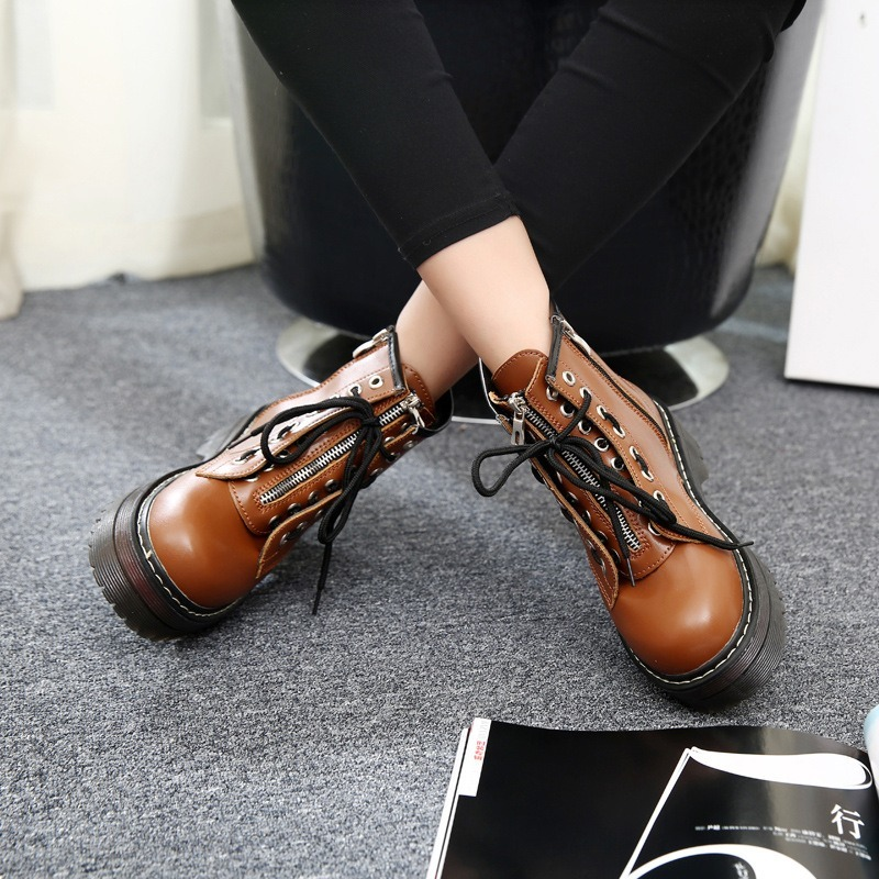 2019 Women Boots Platform Ankle Boots No slip Lace up Zipper Booties Winter Warm Creepers Round Toe Mujer Casual Shoes AEZLZ069 in Ankle Boots from Shoes