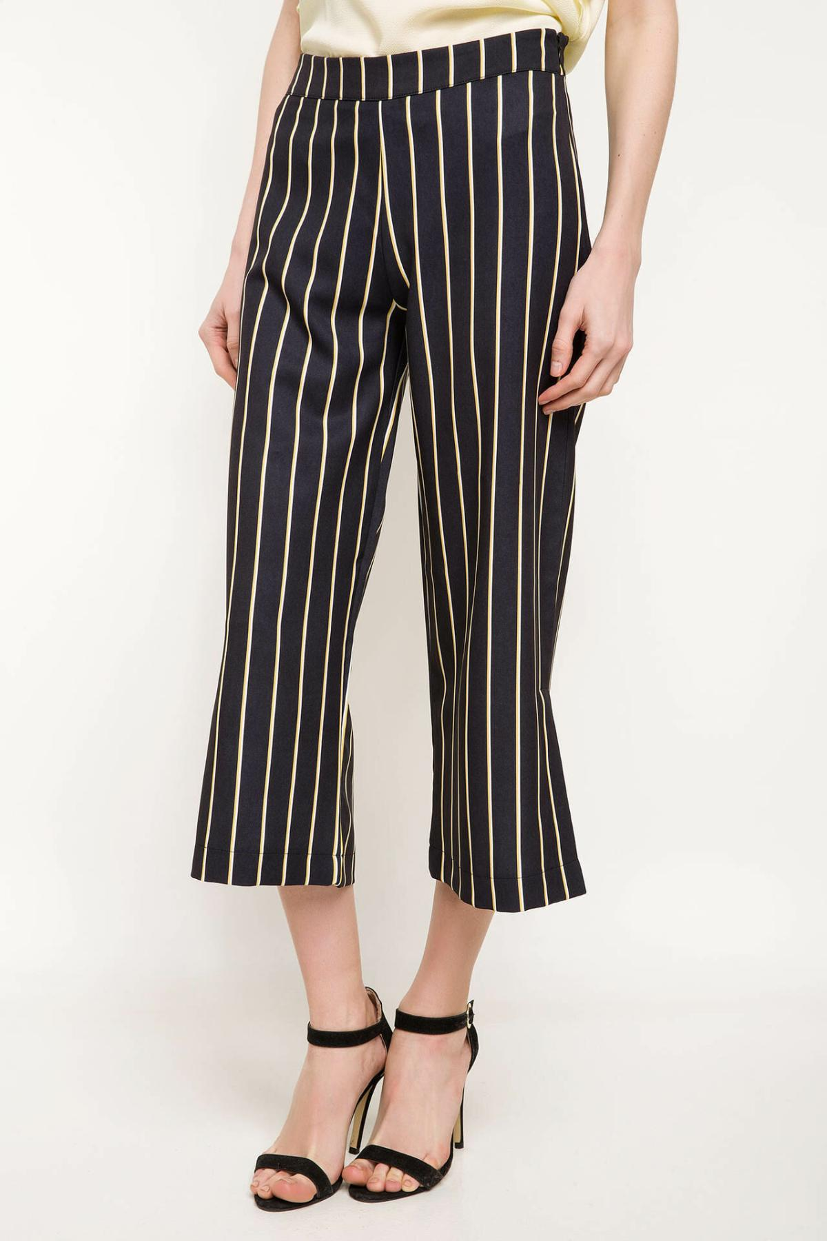 DeFacto Spring White Black Striped Long Pants Women Wide-leg Ninth Pants Female Loose Elastic Bottoms Trousers-J1122AZ18SP